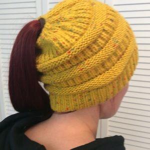 Mustard Yellow Ponytail Beanie Messy Bun Woven Hat